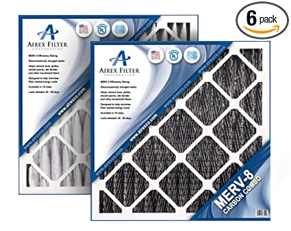 airex 12x20x1 carbon merv 8 pleated ac furnace air filter, box of 6 ...