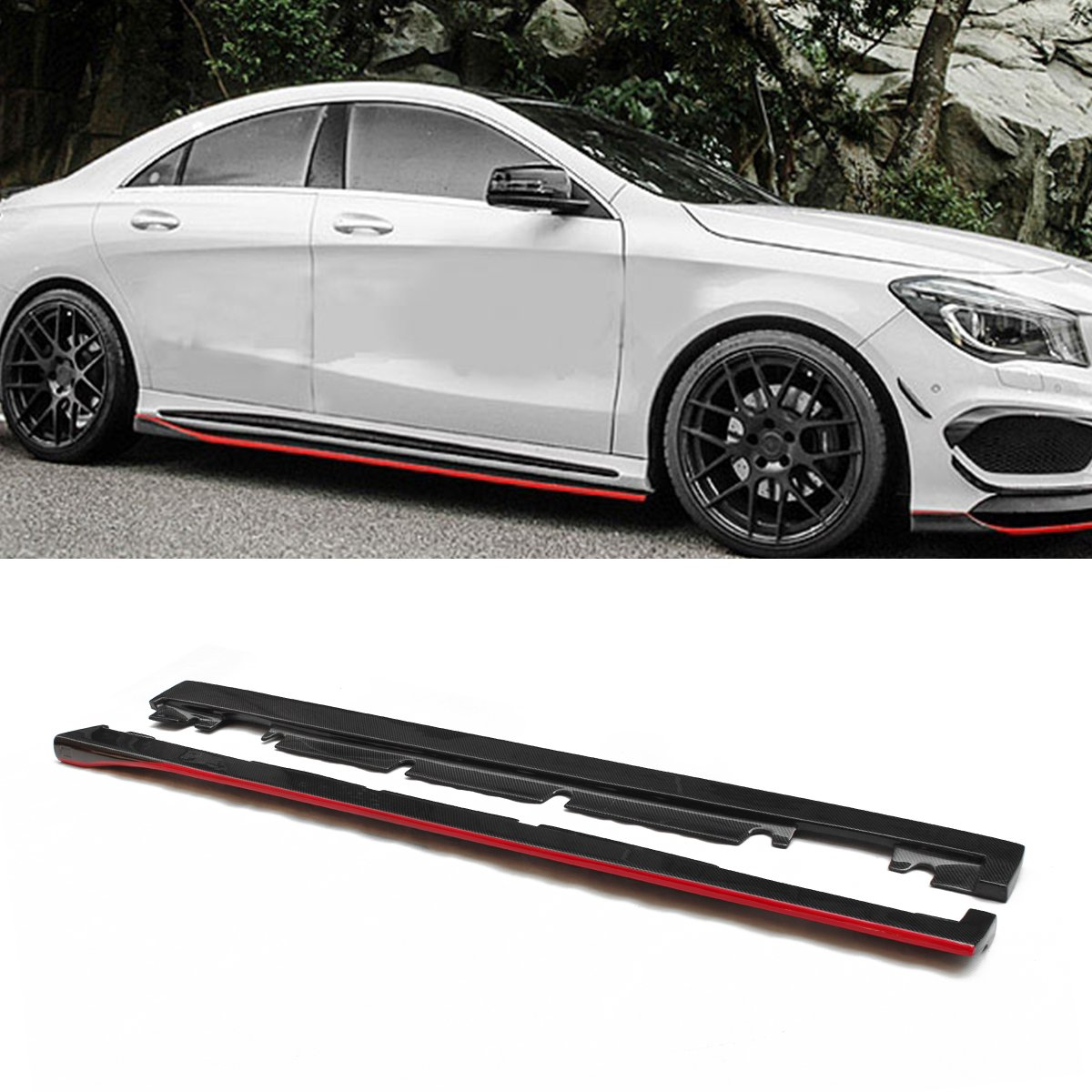 Fandixin W117 Side Skirts Carbon Fiber Side Sills for Mercedes-Benz A Class W176 Sport Edition A45 AMG CLA Class W117 Sport Editon CLA45 AMG