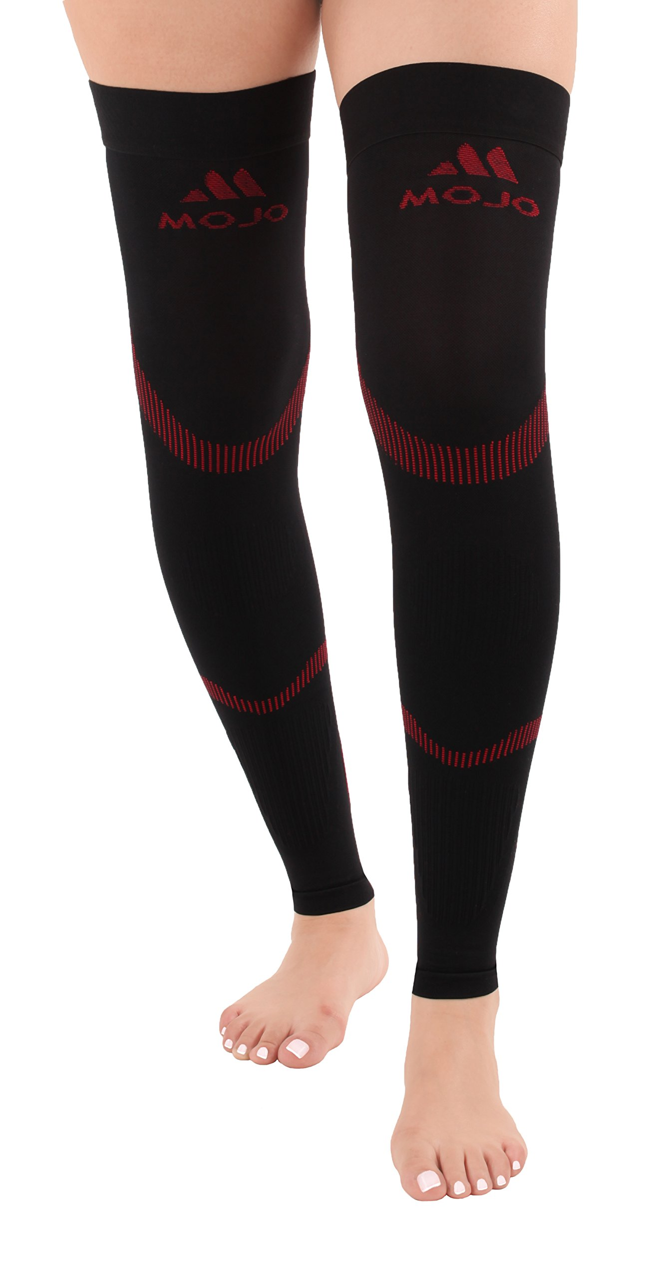 Mojo Compression Stockings - Graduated Compression Thigh Leg Sleeve - 20-30mmhg Medical Support - Thigh Hi Recovery Garment Treats Hamstring, Shin Splints and Quad Injuries, Black/Red Size: Large A609