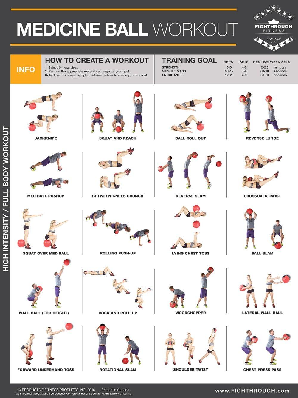 Medecine Ball Haute Intensite Entrainement Affiche Plastifiee Chart Ft De Solidite Et De Cardio Training Core Coffre Pieds Epaules Et Du Dos Votre Guide To
