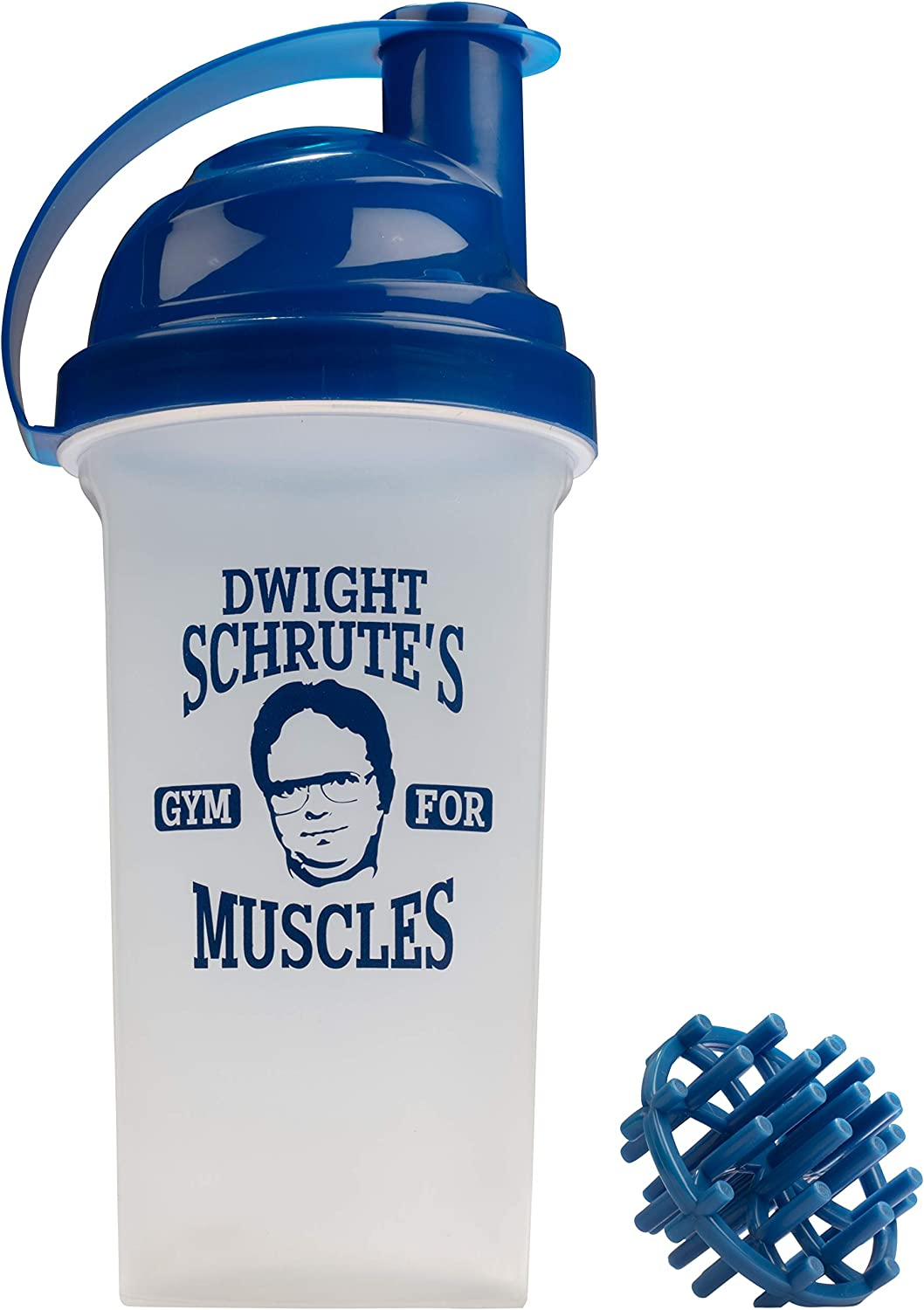 The Office Protein Shaker Bottle - Dwight Schrute's Gym for Muscles - 25 oz Shaker Bottle with Wisk Ball - Funny Design for Office Fans - Official Merchandise