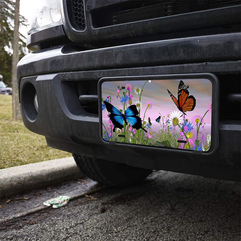 POLERO 6 X 12 Stylish Flowers /& Blue Butterflies Pattern Metal Car Plate,License Plate,Auto Car Tag