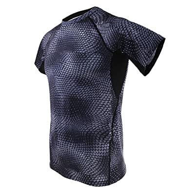 60f89534c6a Baoblaze Gray Comfortable Fitness Men Gym Sport Bodybuilding Compression  Tights Base Layer Short Sleeves T Shirts