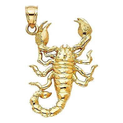 Amazon 14k yellow gold scorpion pendant jewelry 14k yellow gold scorpion pendant mozeypictures Images