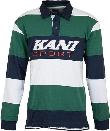 Karl Kani Rugby Sport - Camiseta de manga larga verde, blanco y azul marino. S: Amazon.es: Ropa y accesorios