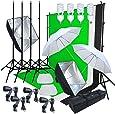 Linco Lincostore Photo Video Studio Light Kit AM169 - Including 3 Color Backdrops (Black/White/Green) Background Screen