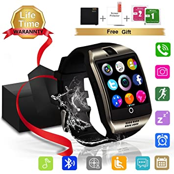 Smartwatch, Impermeable Reloj inteligente con Sim Tarjeta Camara Whatsapp, Bluetooth Tactil Telefono Smart Watch