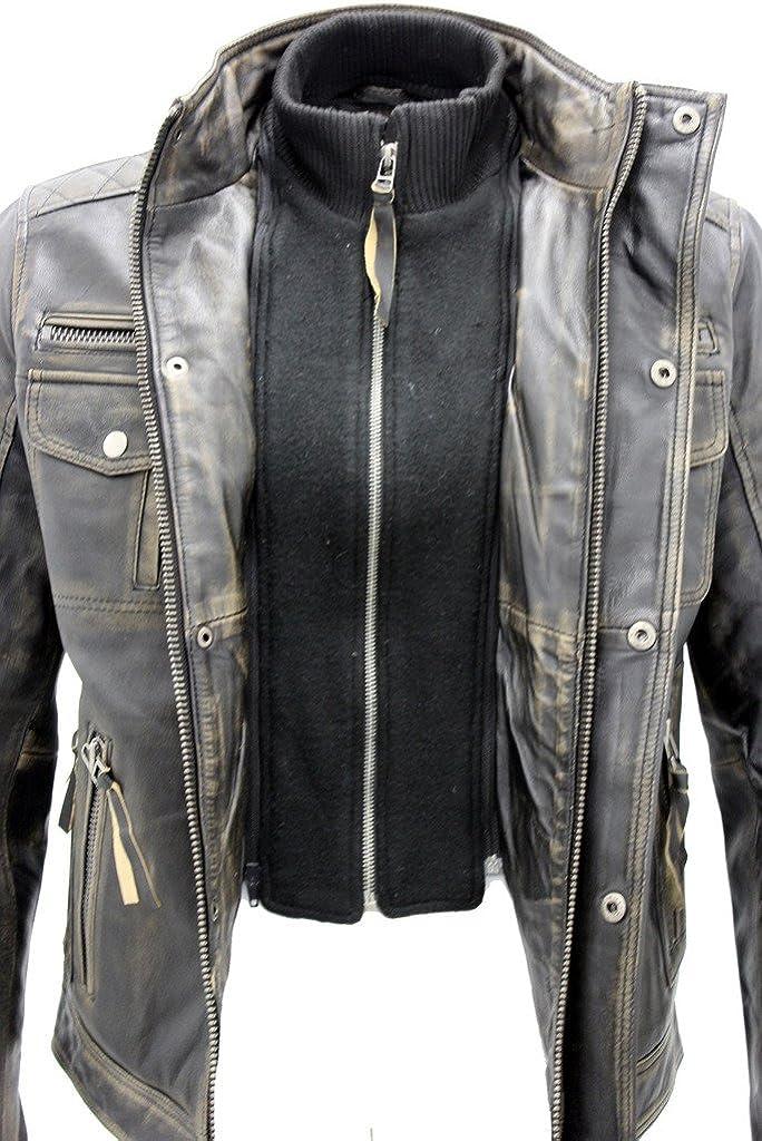 Mens Black Warm Vintage Brando Leather Biker Jacket