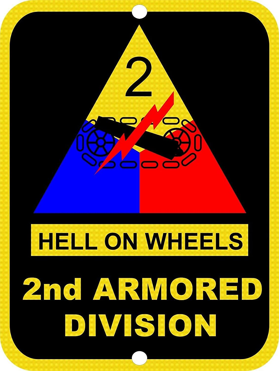 Army 2Nd Armored Division Hell On Wheels USA Military Metal Tin Sign Vintage Aluminum Metal Signs Plaque Wall Art Poster For Garage Man Cave Beer Cafe Bar Pub Club Patio Home Decor 8
