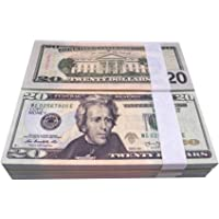 Muvopct Movie Prop Money Full Print 2 Sided,100 pcs 20 Dollar Bills Stack,Copy Money for Movies,Videos,Teaching and…