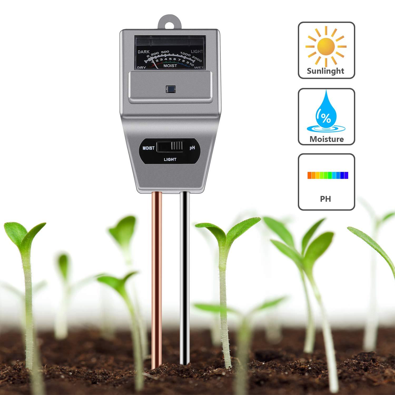 GRACEON Soil pH Meter 3-in-1 Soil Moisture Meter Moisture Sensor Sunlight pH Soil Test Kits for Home and Garden, Indoor/Outdoor Plants