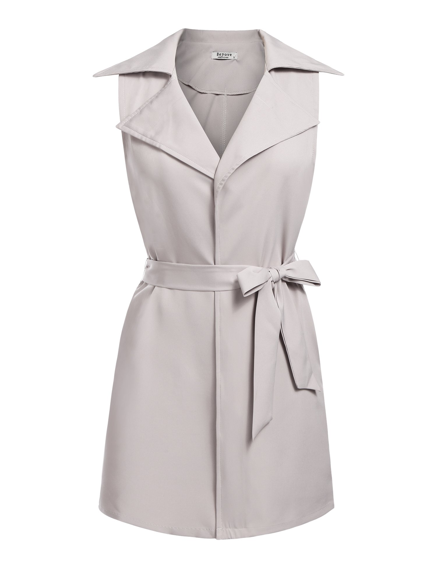 Beyove Women's Sleeveless Pocket Long Waistcoat Belt Blazer Jacket Cardigan Top