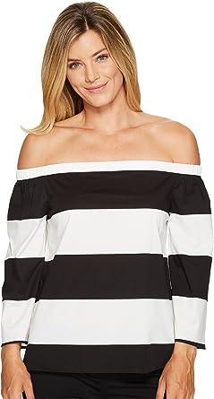 307ebd74d65c3 Vince Camuto Womens Long Sleeve Camden Bold Stripe Off Shoulder Blouse Rich  Black MD One Size