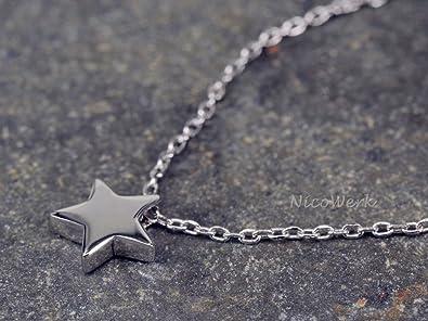 Silberkette mit Anhänger Stern Glatt Halskette Damen 925 Silber Kette Schmuck