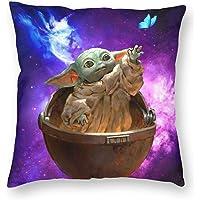 Baby Yoda Funda de almohada Funda de cojín Estampado de poliéster suave Cuadrado…