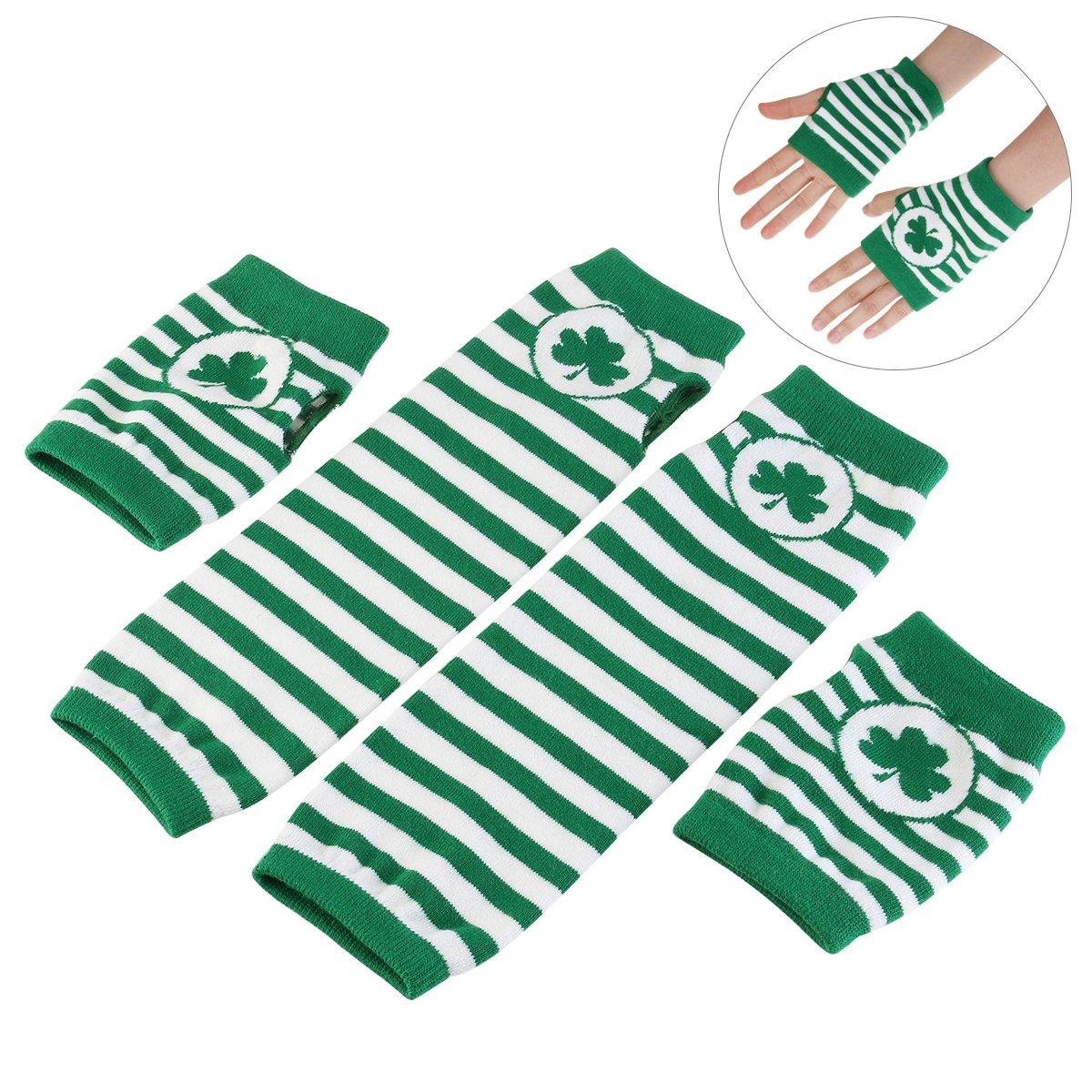 BESTOMZ St. Patrick's Day Gloves Shamrock Fingerless Arm Warmers Unisex - 2 Pair