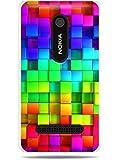 GRÜV Premium Case - Design Abstrakte Regenbogenkunst - Qualitativ Hochwertiger Druck Weiße Hülle - für Nokia Asha 210