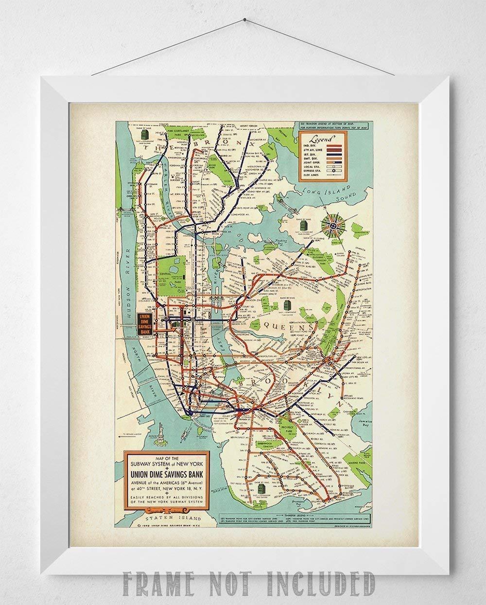 New York Subway Map Art.Amazon Com New York Subway Map 1948 11x14 Unframed Art Print