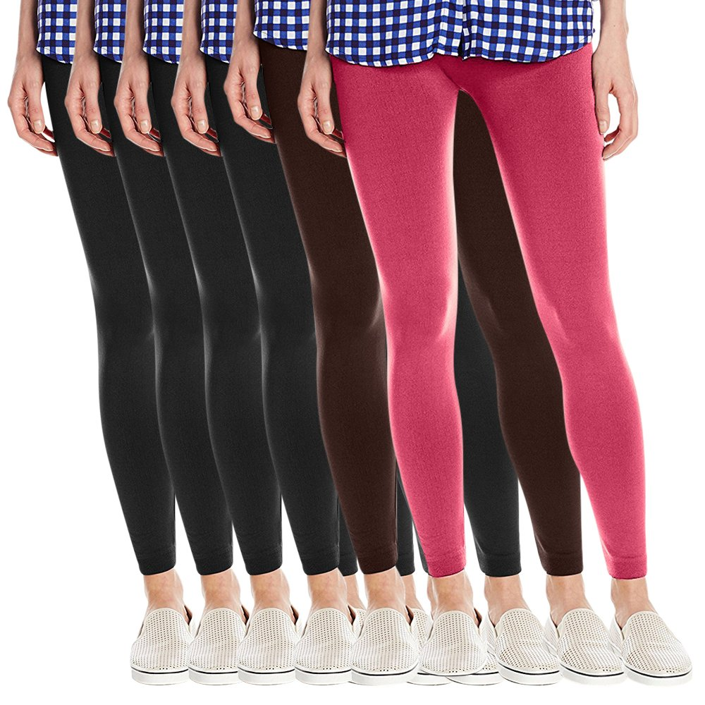 Fashion Printed Women's Super Soft Fleece Lined Leggings, One Size - Pack Of 6 - Set 5-4 Blacks, Brown & Fuchsia
