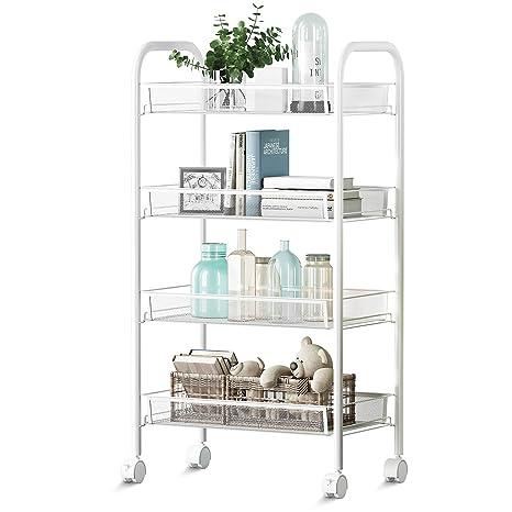 Amazon.com: 4 carritos de cocina en ruedas, estantería de ...