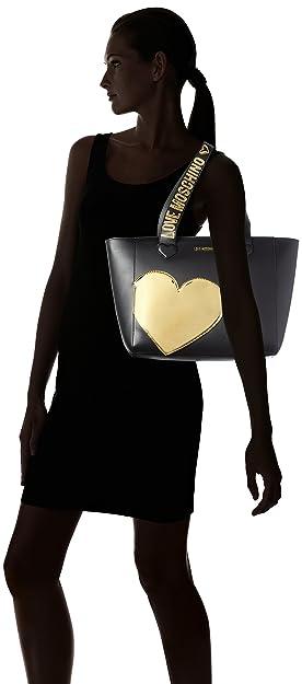Donna Pu Tote tpu Nero Borse Oro Borsa Love Calf Moschino zwqZgpP