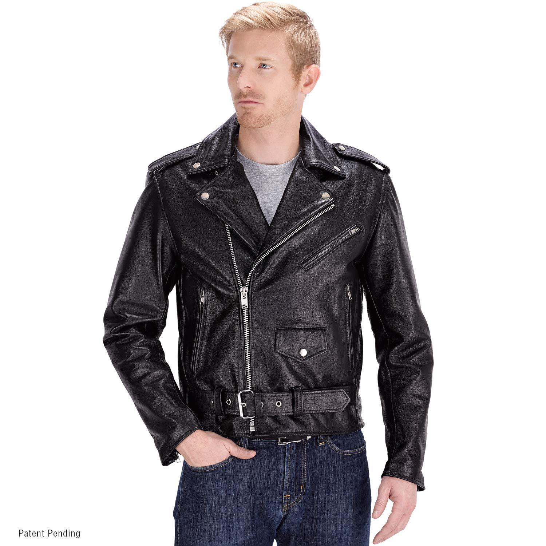 Nomad USA Motorcycle Leather Jacket for Men (5X-Large) Black by Nomad USA