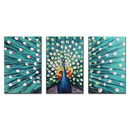 38e299dca49 FLY SPRAY 3-Piece 100% Hand Painted Oil Paintings Canvas Wall Art Peacock  Cyan