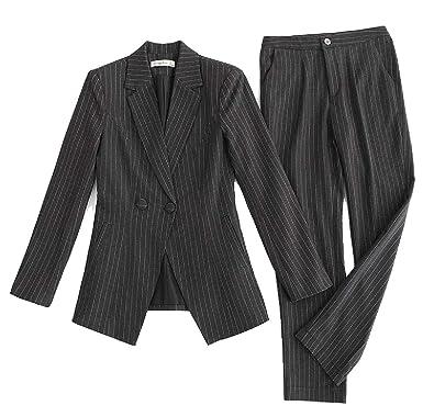 8e14f0c57a9b yibiyuan Women s Long-Sleeved Stripe 2 Piece Blazer Hot Shorts 2 PCS  Beachwear Set Coats