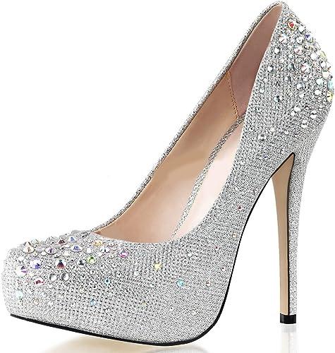Pumps Schuhe Silber Glitzer Gr. 35