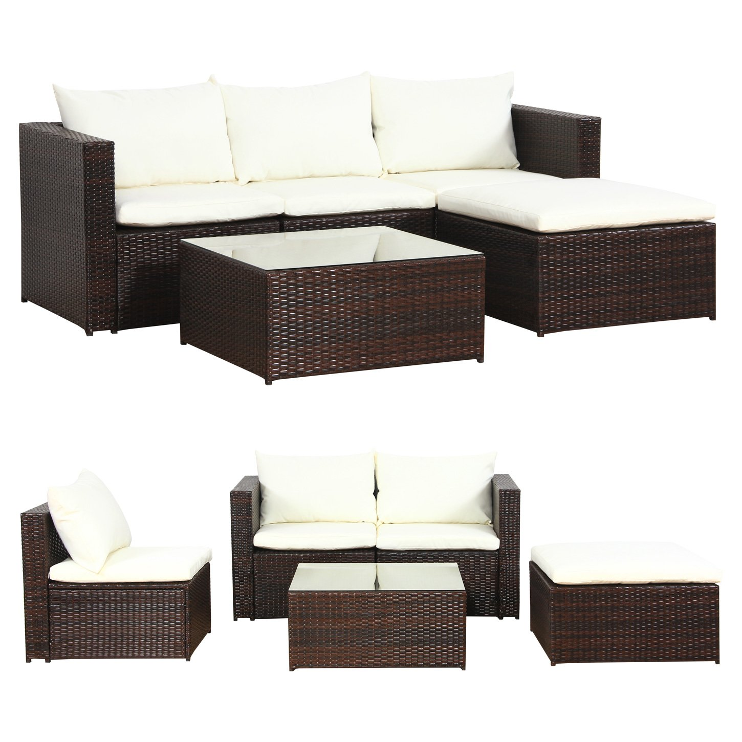 malaga poly rattan braun gartenm bel sitzgruppe essgruppe gartenset g nstig online kaufen. Black Bedroom Furniture Sets. Home Design Ideas