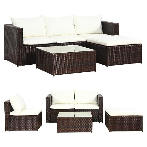 Loungemobel Rattan Braun Minimalist | Garden Furniture Amazon De