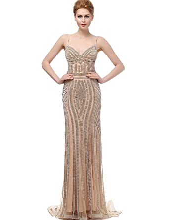 Sarahbridal Women s Beaded Crystal Evening Prom Dresses Mermaid Tulle Ball  Gown Champagne US2 a66f45338ca5