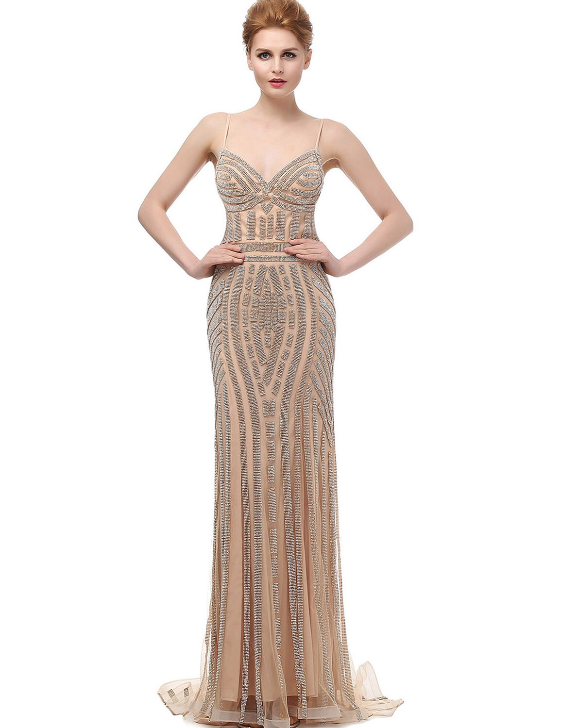 Sarahbridal Women's Beaded Crystal Evening Prom Dresses Mermaid Tulle Ball Gown Champagne US4