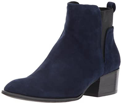 1afd4249e Kenneth Cole New York Women's Artie Pull On Ankle Bootie Low Heel Suede,  Navy,