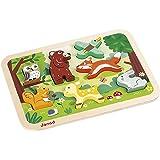 Janod - Chunky, Puzzle para encajar animales del bosque (J07023)