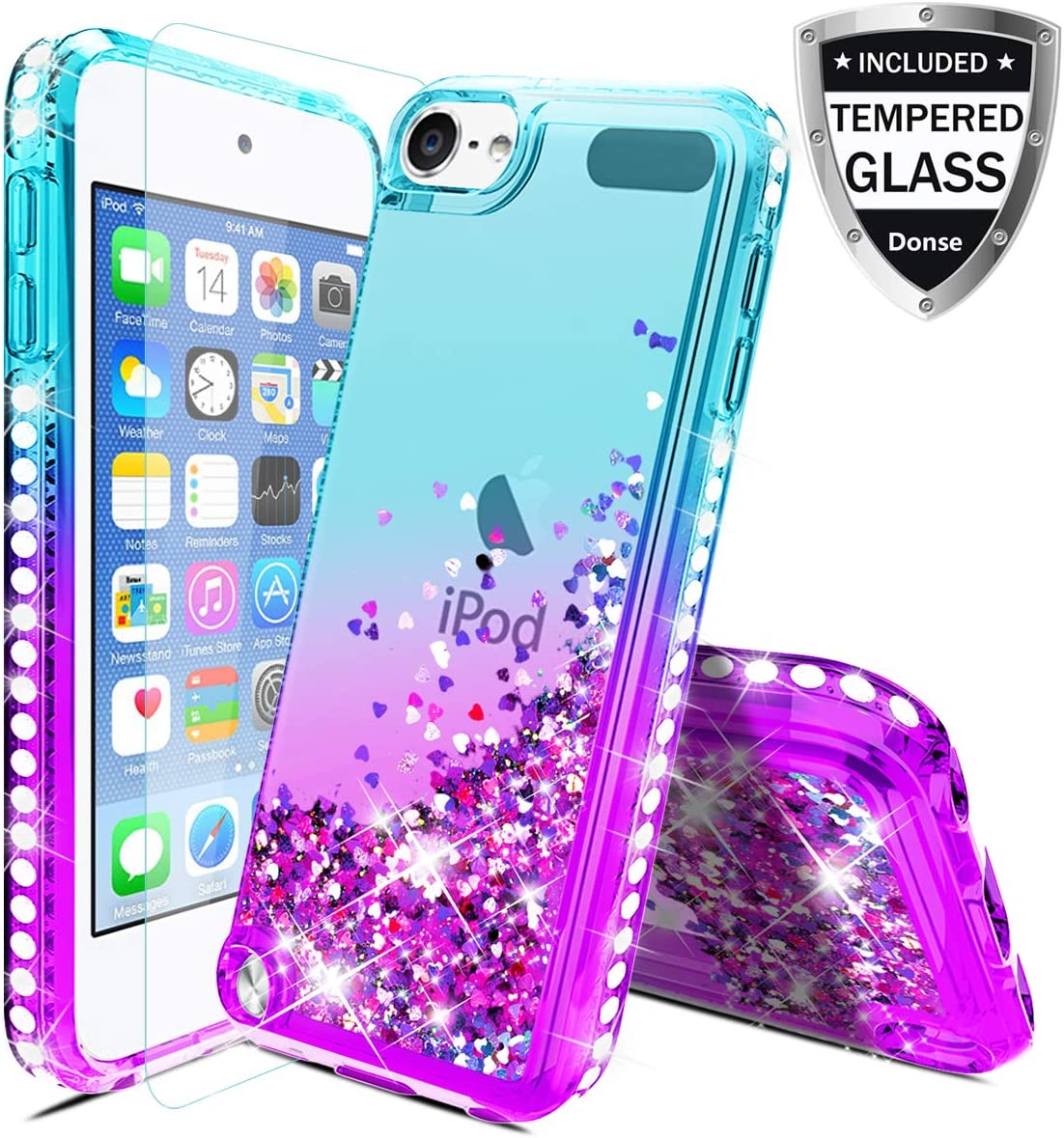 for Apple iPod Touch5/6/7,iPod 5th/6th/7th Generation Case W/Glass Screen Protector,Donse Glitter Liquid Quicksand Floating Shiny Sparkle Flowing Bling Diamond Luxury Case for Girls Women,Mint/Purple