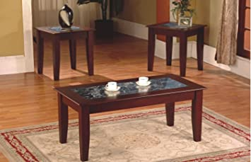 3 Piece Fax Marble Top Cherry Coffee Table And End Table Set