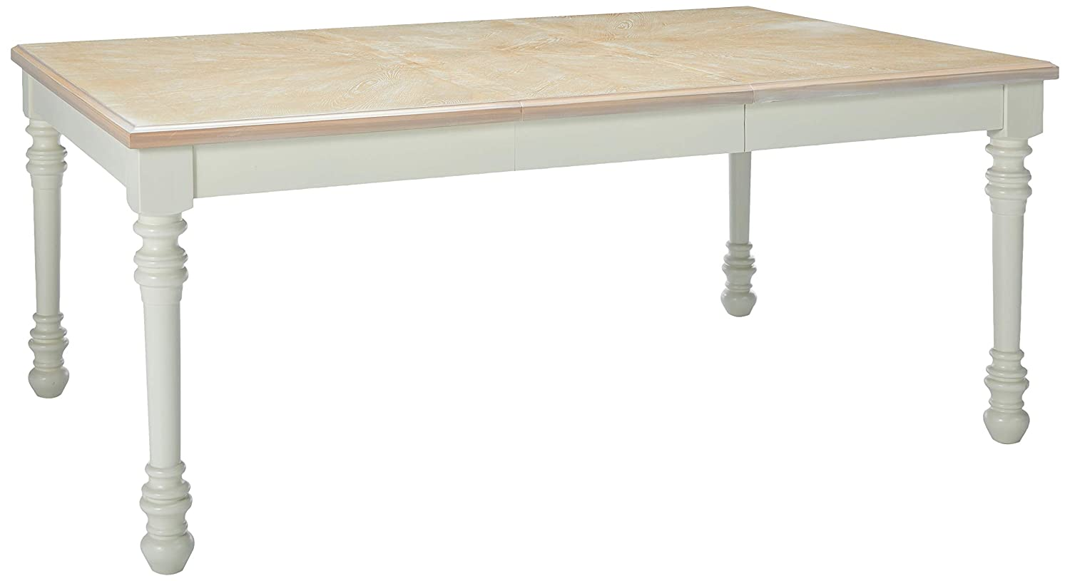 Country French ivory dining table with birch top.
