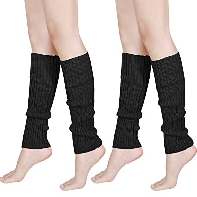 80s Women Knit Leg Warmers Ribbed Leg Warmers for Party Accessories (Black, 2): Clothing