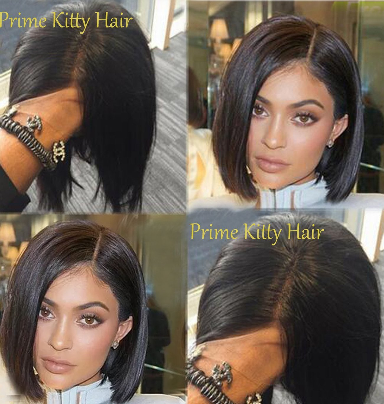 Human Hair Wigs for White Women Human Hair Wigs for Black Women 150% Density Glueless Full Lace Wigs for Updo Ponytail Any Part Style Full Hand Made Brazilian Remy Virgin Human Hair Wigs 14'' Bob Wig