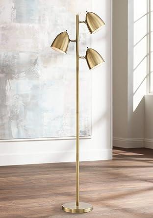 Aaron Mid Century Modern Floor Lamp Aged Brass 3 Light Tree