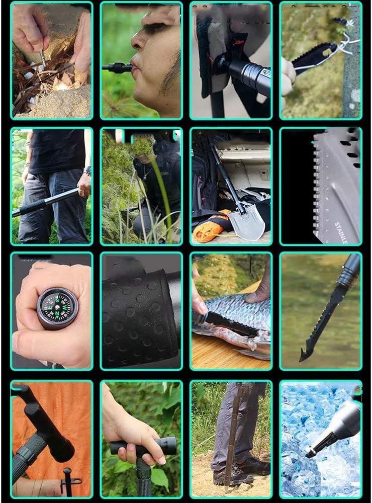 Multfunktionaler Klappspaten Camping Schaufel mit Tasche 30-in-1 tragbar abnehmbar Survival Schaufel f/ür Outdoor Wandern Camping Garten 101CM