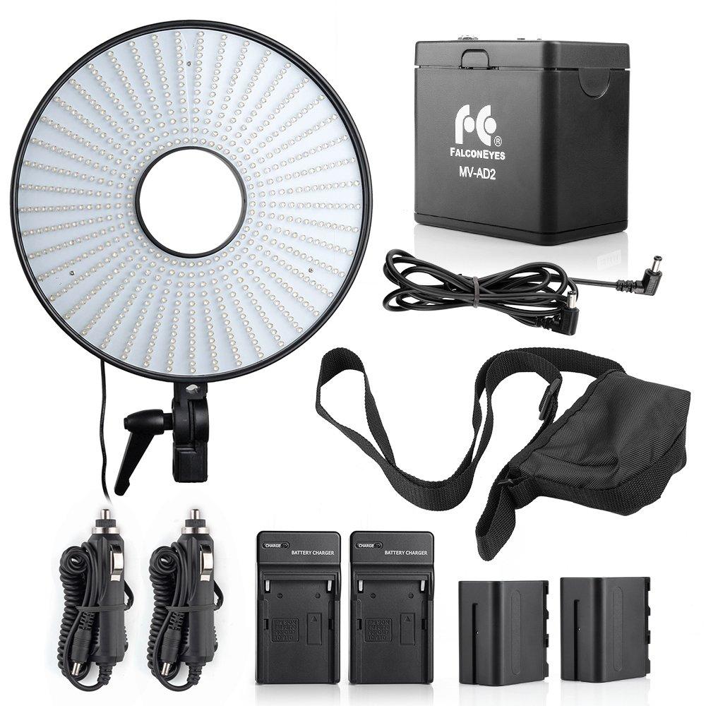 FalcONEYES DVR-630DVCスーパーパワーLEDリングライトバイカラー温度ビデオライト+NP-F970バッテリーホルダーケース+ 2xNP-F970バッテリー2xバッテリー充電器(カーチャージャーアダプター含む   B074QM2Z53