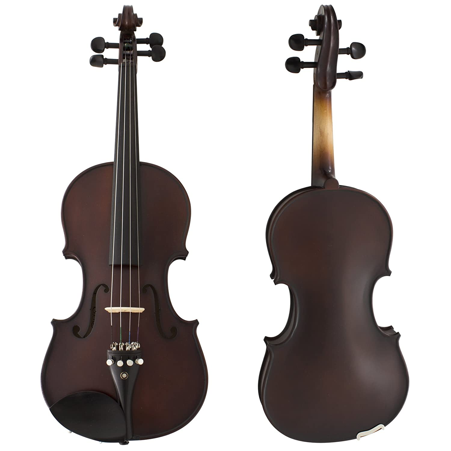 Cecilio CVN-EAV Ebony Fitted Solid Wood Violin with Deluxe Oblong Case, Antique Varnish, Size 4/4 (Full Size) 4/4CVN-EAV+SR