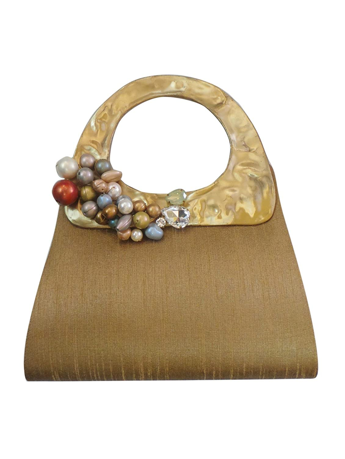 Bhamini Gold Quirky Raw Silk Bag with Grape Brooch鈥
