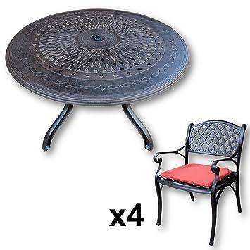 Amazon De Lazy Susan Amy 120 Cm Runder Gartentisch Mit 4 Stuhlen