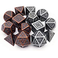 Haxtec Metal DND Dice Set D&D 7PCS of D20 D12 D10 D8 D6 D4 for Dungeons and Dragons TTRPG Games (2 Pack)