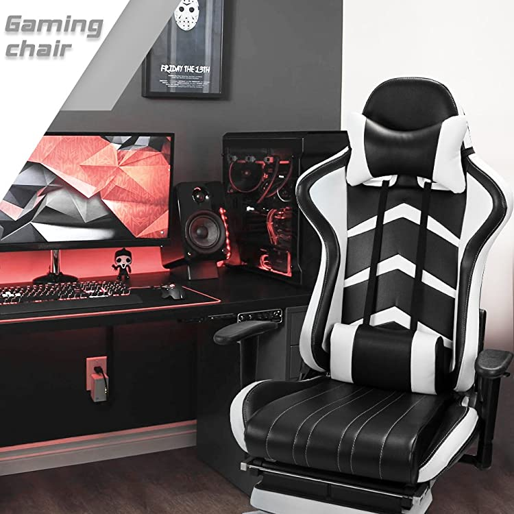 Furmax Gaming Chair High Back Racing Chair, Ergonomic Swivel Computer Chair Executive PU Leather Desk Chair With Footrest