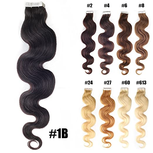 Amazon yotty hair extensions tape in skin weft seamless remy amazon yotty hair extensions tape in skin weft seamless remy human hair body wavy 20 2020pcs 1 beauty pmusecretfo Images
