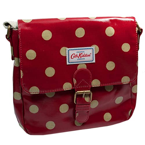 best value factory price top-rated quality Cath Kidston button spot satchel cross body/shoulder bag in red oilcloth